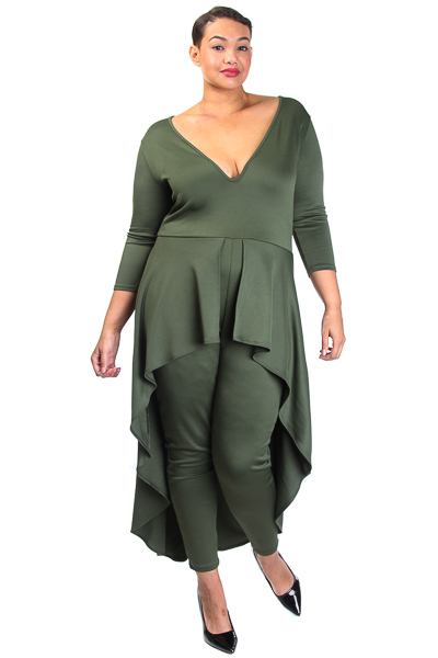 3/4 Sleeve Jumpsuit with Ruffle Peplum and Deep V Neck