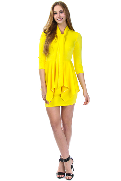LONG SLEEVE TIE NECK WITH FLOUNCE DRESS