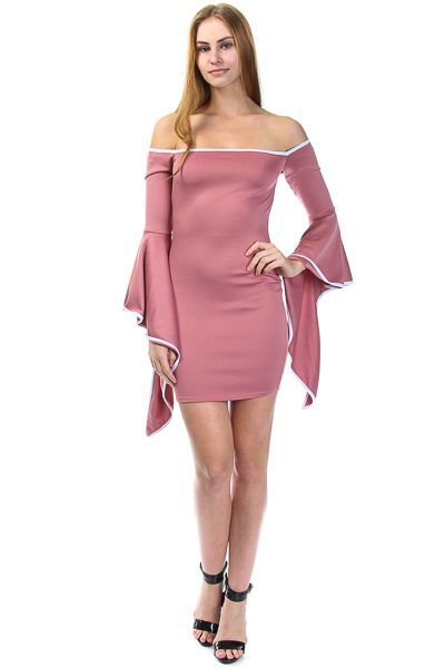OFF SHOULDER BELL SLEEVE WITH CONTRAST DRESS