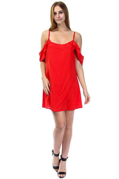 OFF SHOULD FLUTTERED SLEEVE DRESS