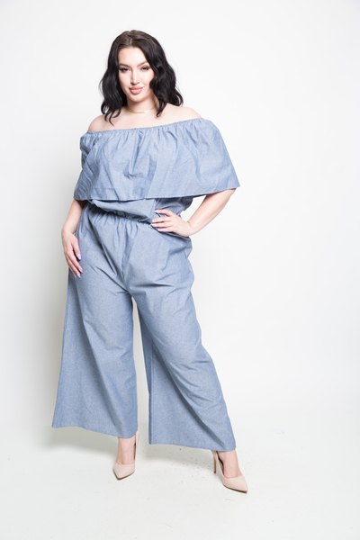 Chambray ruffle tube top jumper