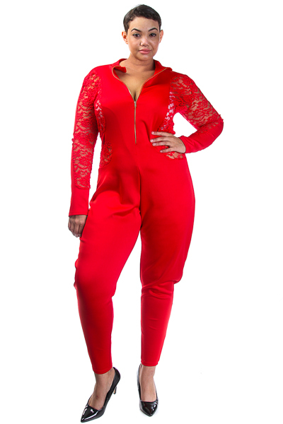 Long sleeve lace insert front zipper catsuit