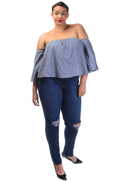 Cold shoulder Chambray Crop Top