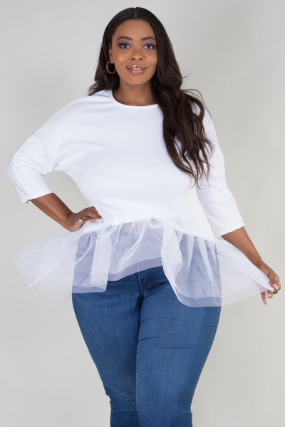 Long sleeve tulle peplum top