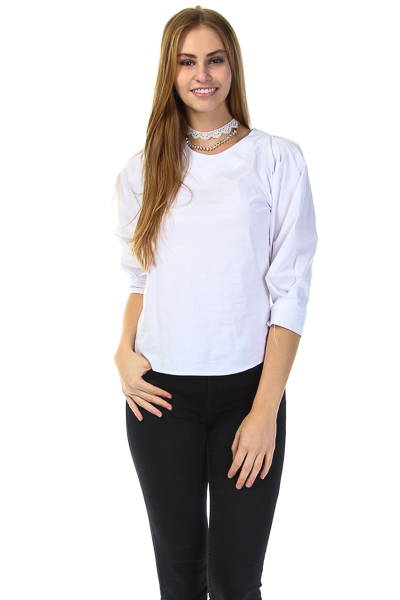 ROUND NECK PUFF SLEEVES TOP