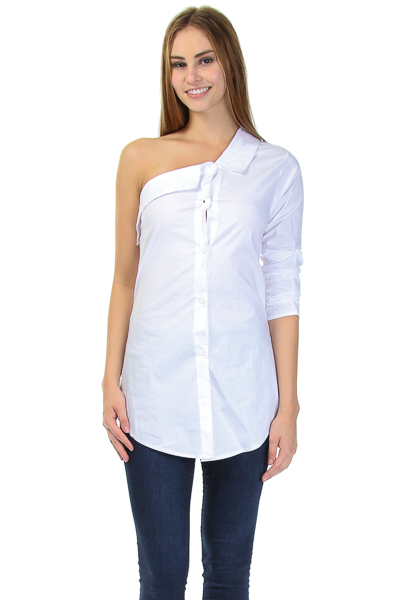 ONE SHOULDER POPLIN TOP