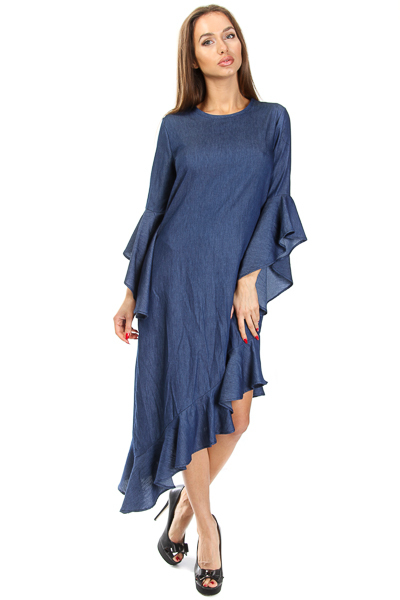 DENIM VERTICAL FLOUNCE DRESS