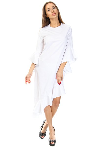 POPLIN VERTICAL FLOUNCE DRESS