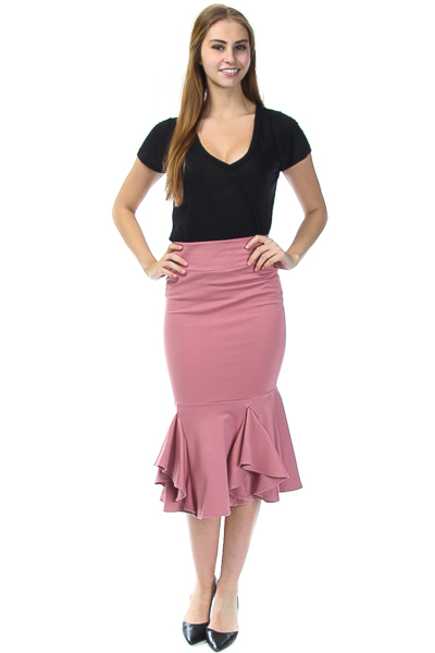 HIGH WAISTED FLOUNCED SKIRT