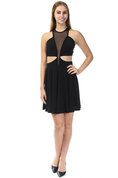 CUT OUT SEXY MESH DRESS