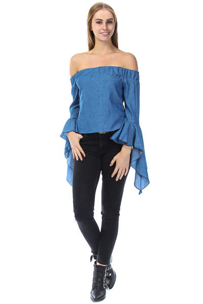 DENIM OFF SHOULDER BELL CUFF TOP