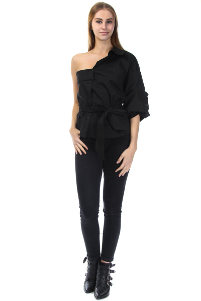 ONE SHOULDER FOLD OVER COLLAR WITH FRONT TIE TOP