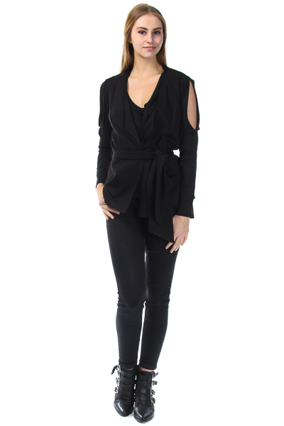 CUT OUT ARMS WITH TIE WAISTED SLEEK JACKET