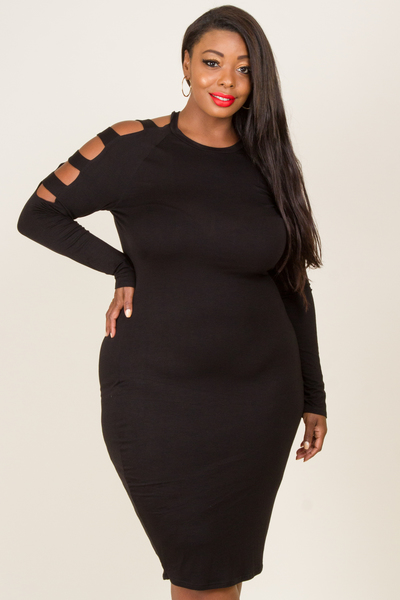 Long Sleeved Caged Sleeved Basic Midi Dress