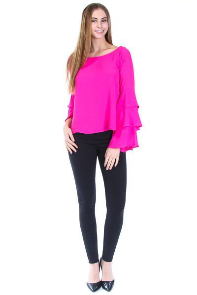 ROUND NECK RUFFLED SLEEVE TOP