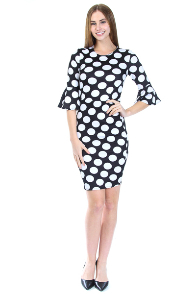 3/4 BELL CUFF SLEEK DRESS