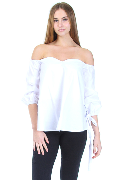 POPLIN OFF SHOULDER SWEET HEART TOP