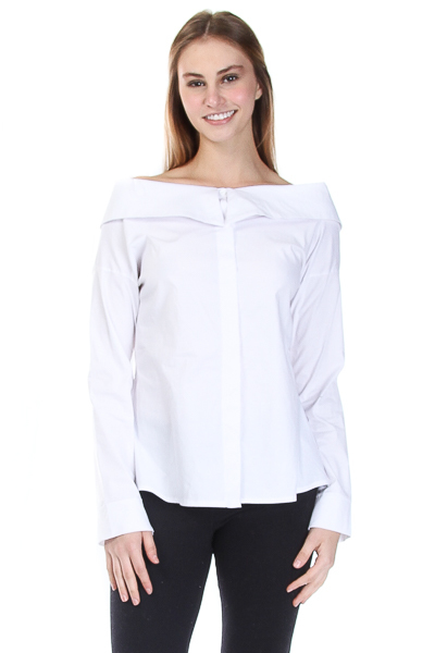 BUTTON DOWN COLLAR ON THE SHOULDER TOP