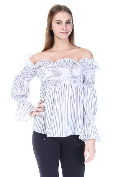 OFF THE SHOULDER SMOCKED STRIPED TOP