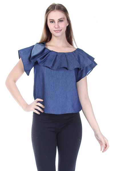 DENIM FLOUNCE TOP