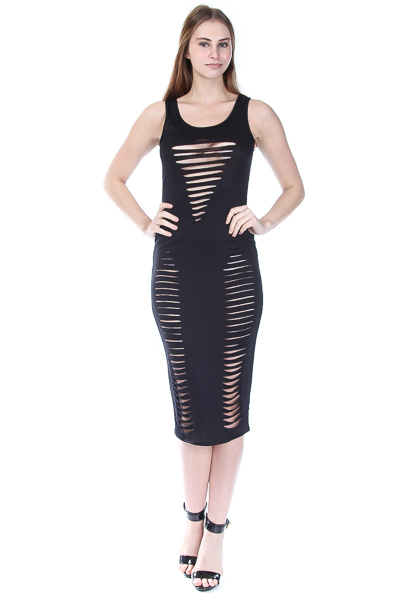 SLEEVELESS SEXY LASER CUT DRESS