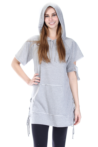 ONE SLEEVE RAW EDGE CUT HOODIE DRESS