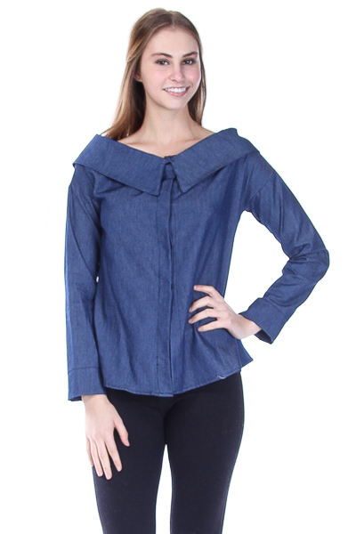 COLLAR SHOULDERED BUTTON DOWN TOP