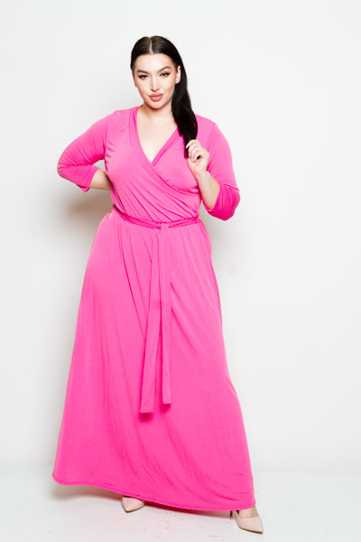 LONG SLEEVE FRONT TIE MAXI DRESS