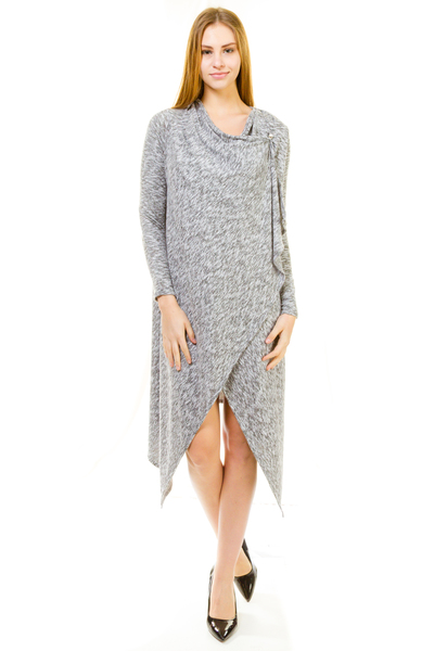 Knee Length Button Side Marled Cardigan