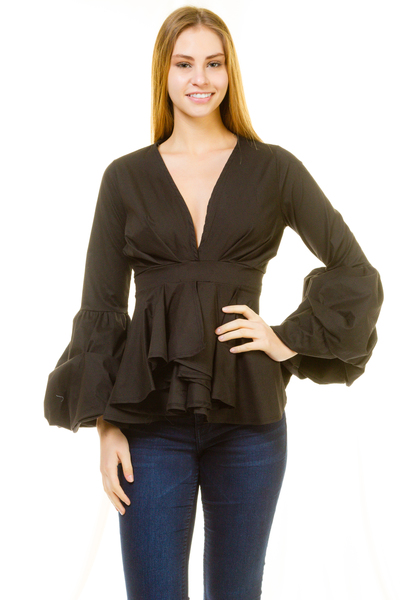 V NECK LONG SLEEVE BAND WAIST TOP