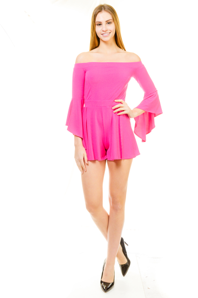 OFF THE SHOULDER BELL SLEEVE ROMPER