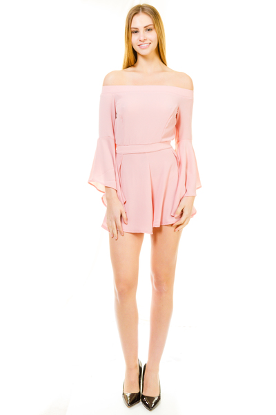 WOVEN OFF THE SHOULDERS BELL SLEEVE ROMPER