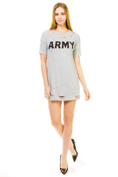 ARMY ROUND NECK LASER CUT TOP