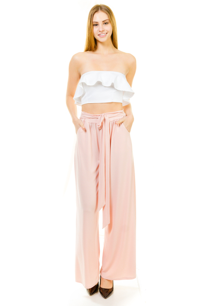TIE WAIST LOOSE FITTING PANTS