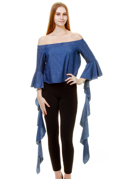 DENIM OFF SHOULDER SPIRAL DOWN FLOUNCE ON CUFFS TOP