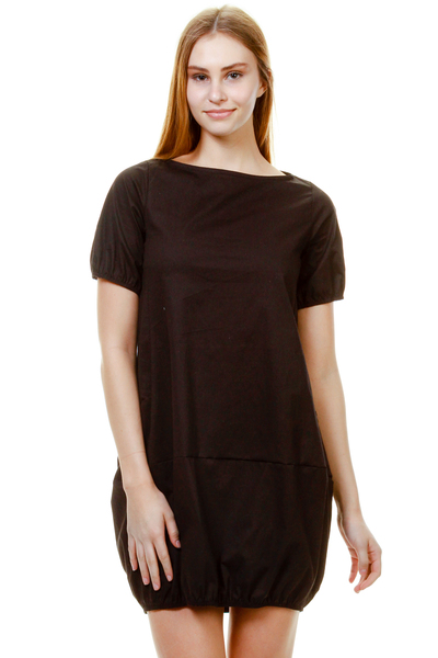 POPLIN ROUND NECK BALLOON BOTTOM DRESS
