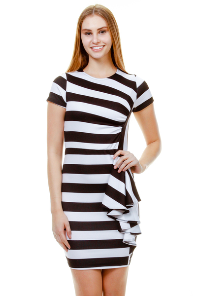 STRIPPED SHORT SLEEVE WITH CASCADE DRESS