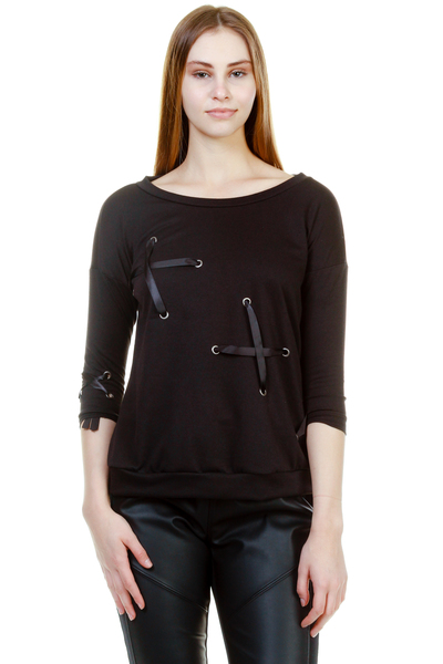 FRENCH TERRY EYELET RIBBON SWEATER TOP