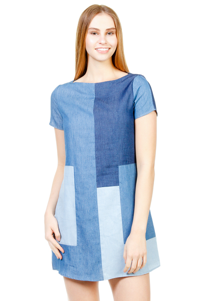 DENIM COLOR BLOCK DRESS