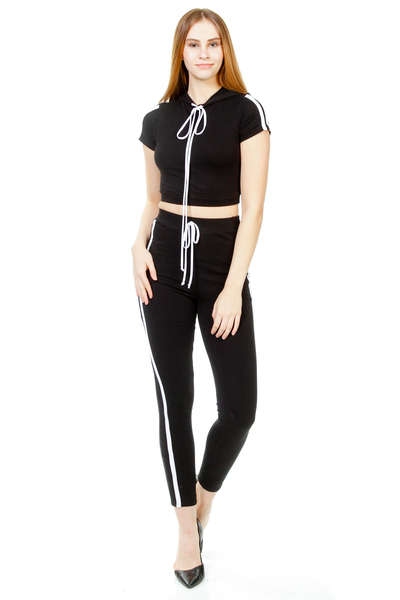 TWO PIECE SIDE STRIPES WITH HOODIES JUMPSUIT