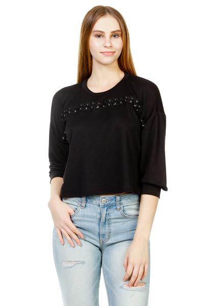 FRENCH TERRY EYELET TAPE ACROSS CHEST TOP