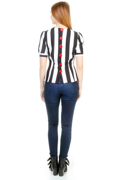 STRIPED ROUND NECK PUFF SLEEVE BUTTON BACK TOP