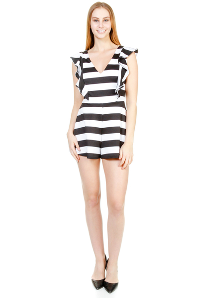 V NECK STRIPED FLOUNCE ROMPER