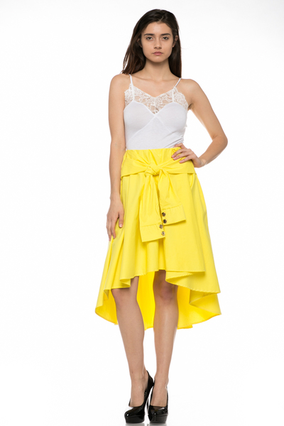 FRONT TIE SLEEVE SHORT TO LONG SKIRT