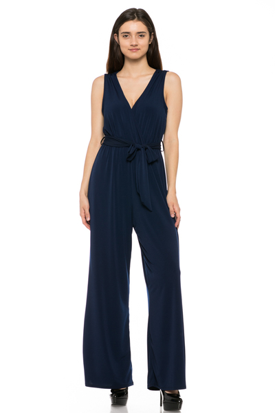 SLEEVELESS TIE JUMPSUIT