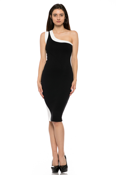 ONE SHOULDER SLEEVELESS CONTRAST DRESS