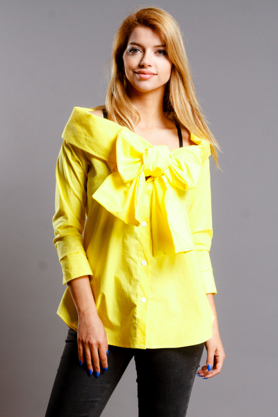 LONG SLEEVE OFF SHOULDER FRON BIG BOW BUTTON DOWN TOP