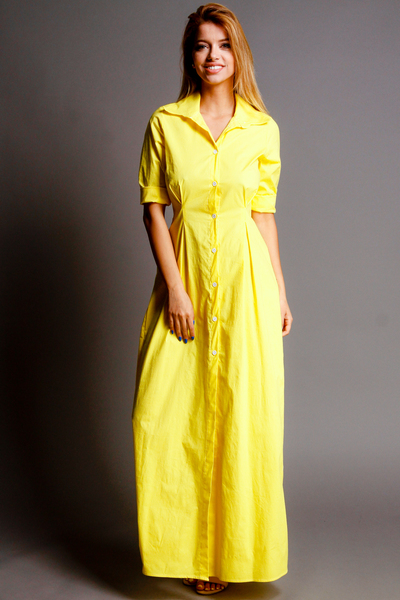 ROLLED SLEEVE COLLARED BUTTON DOWN LONG DRESS