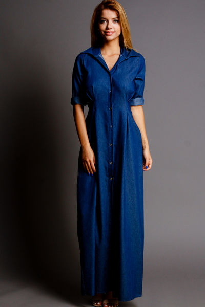 DENIM COLLARED BUTTON DOWN LONG DRESS