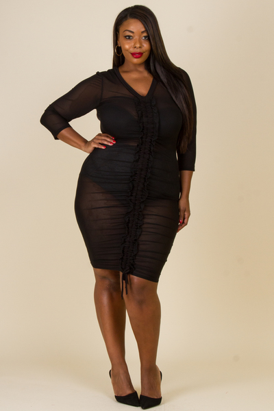 V NECK LONG SLEEVE ROUGHED DRESS (UNDER GARMENT NOT INCLUDED)